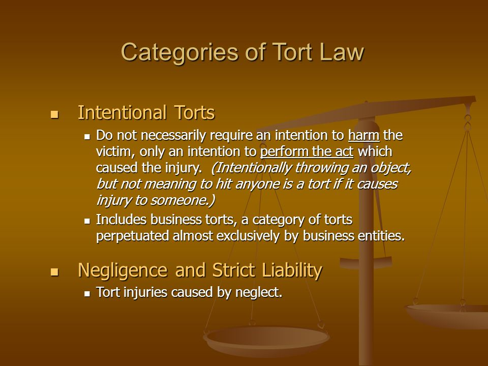 Categories of Tort Law Intentional Torts