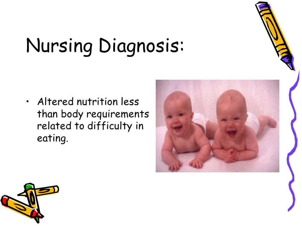 Nursing Diagnosis: Altered nutrition less than body requirements related to difficulty in eating.