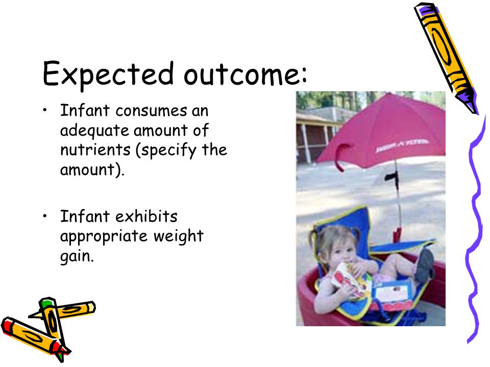 Expected outcome: Infant consumes an adequate amount of nutrients (specify the amount).