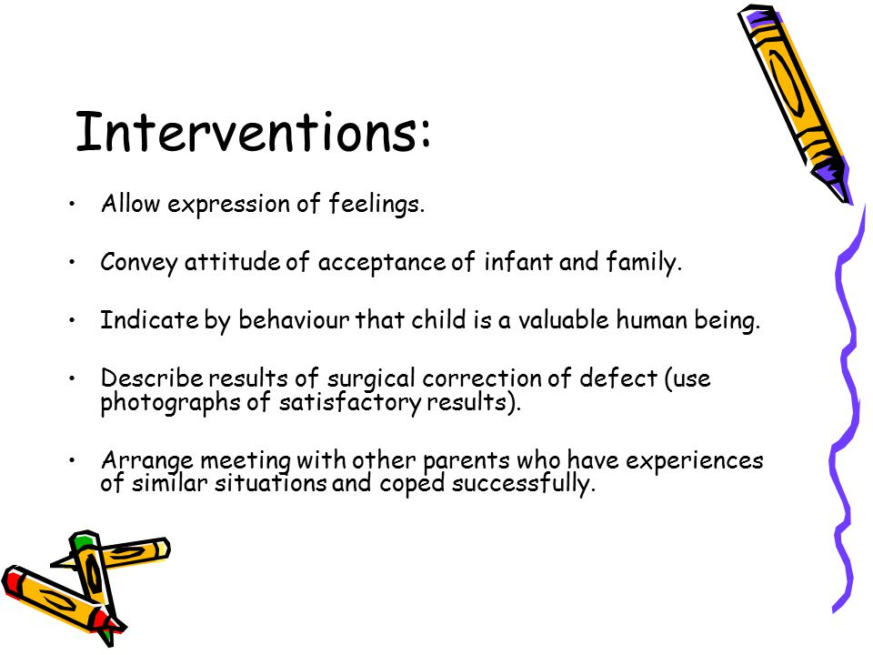 Interventions: Allow expression of feelings.