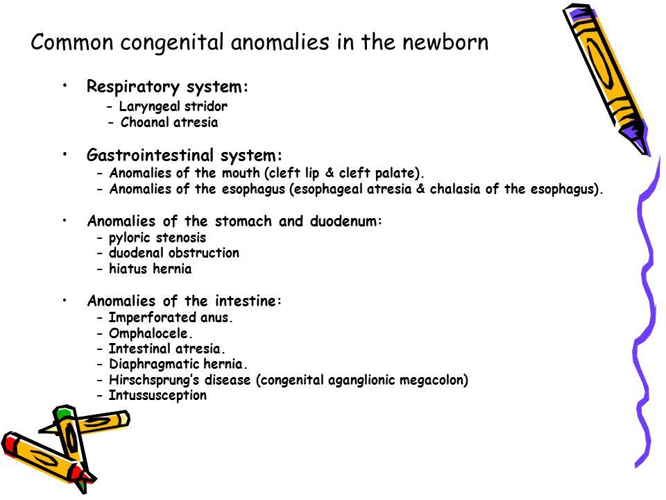 Common congenital anomalies in the newborn