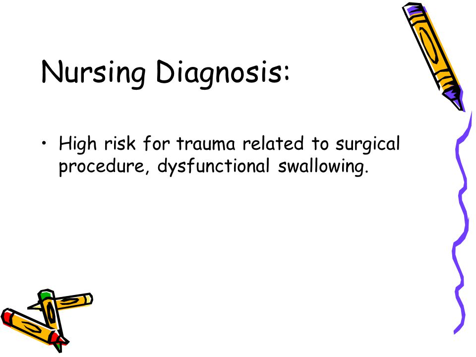 Nursing Diagnosis: High risk for trauma related to surgical procedure, dysfunctional swallowing.