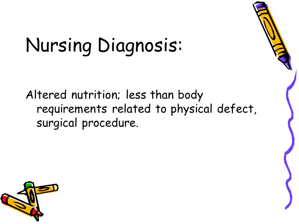 Nursing Diagnosis: Altered nutrition; less than body requirements related to physical defect, surgical procedure.