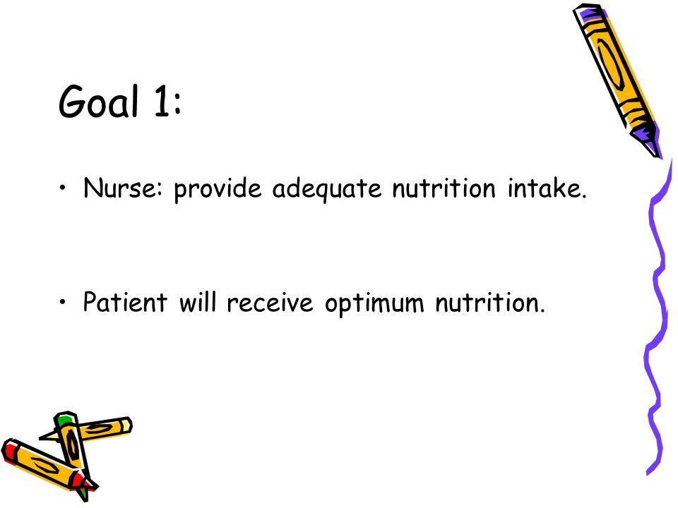 Goal 1: Nurse: provide adequate nutrition intake.