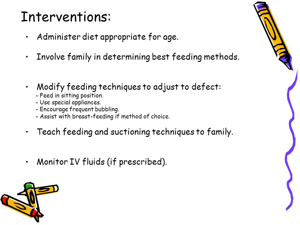 Interventions: Administer diet appropriate for age.