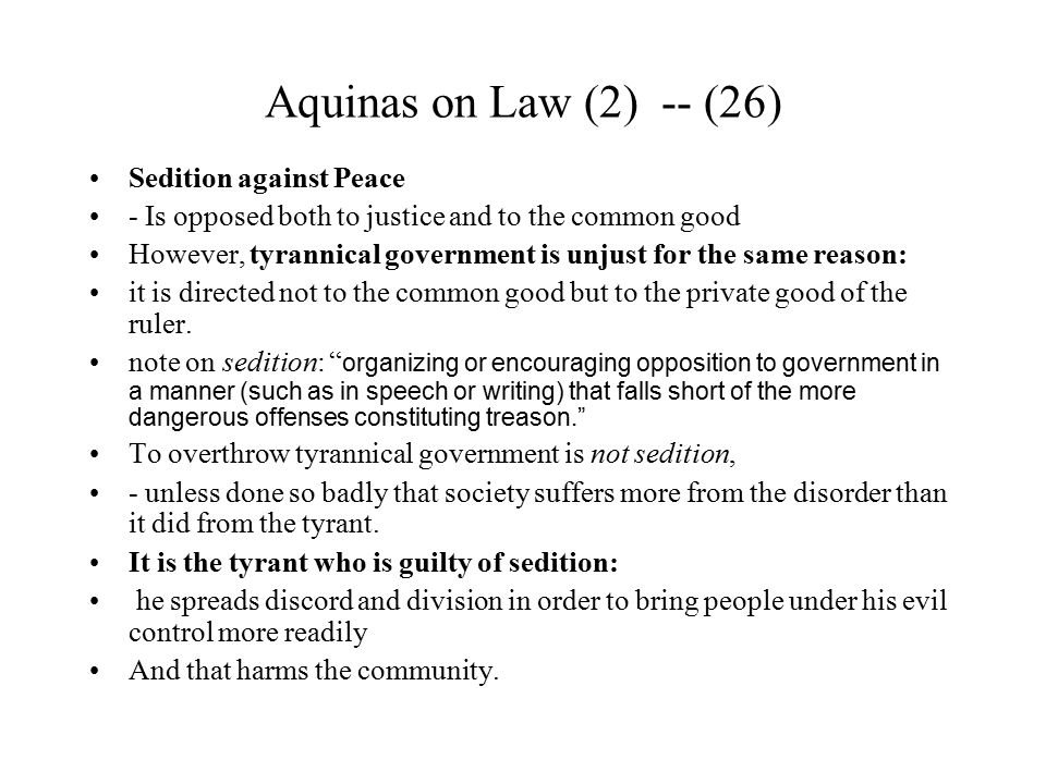 Aquinas on Law (2) -- (26) Sedition against Peace