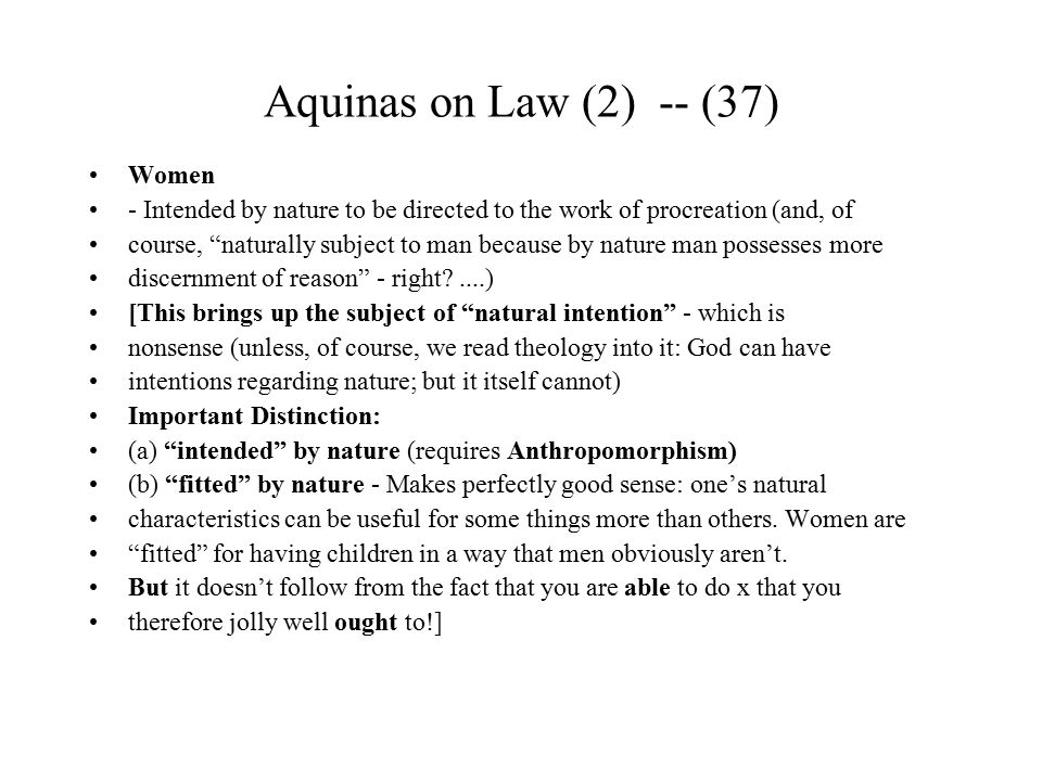 Aquinas on Law (2) -- (37) Women