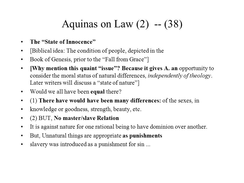 Aquinas on Law (2) -- (38) The State of Innocence