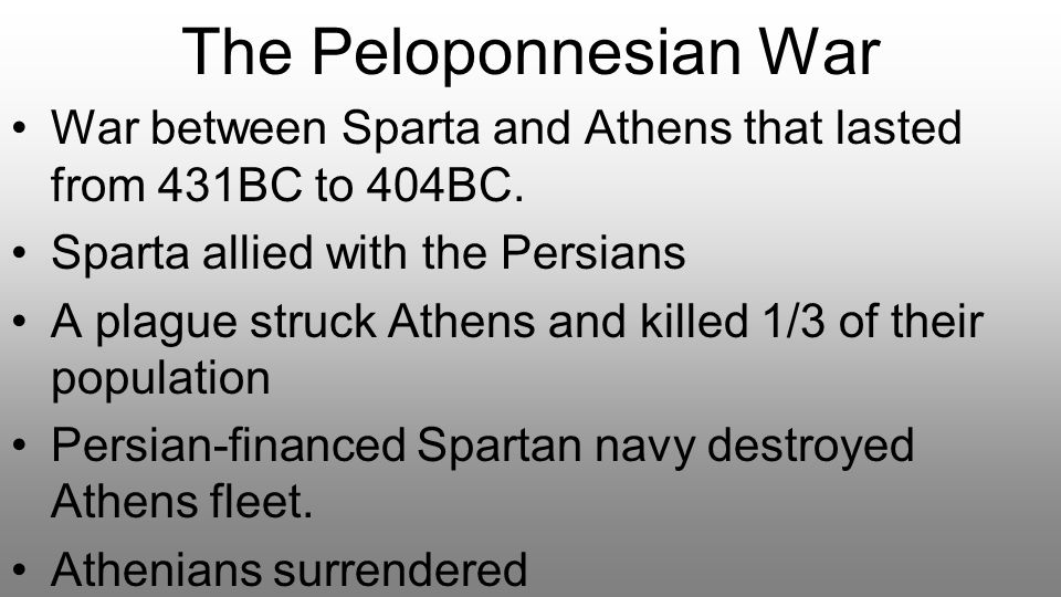 The Peloponnesian War War between Sparta and Athens that lasted from 431BC to 404BC. Sparta allied with the Persians.