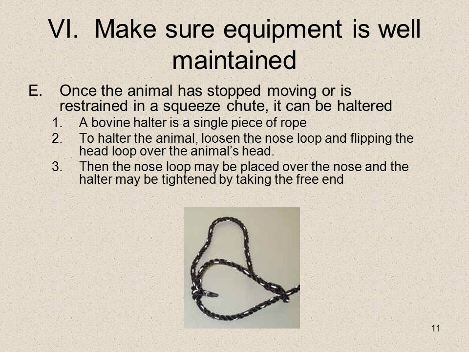VI. Make sure equipment is well maintained