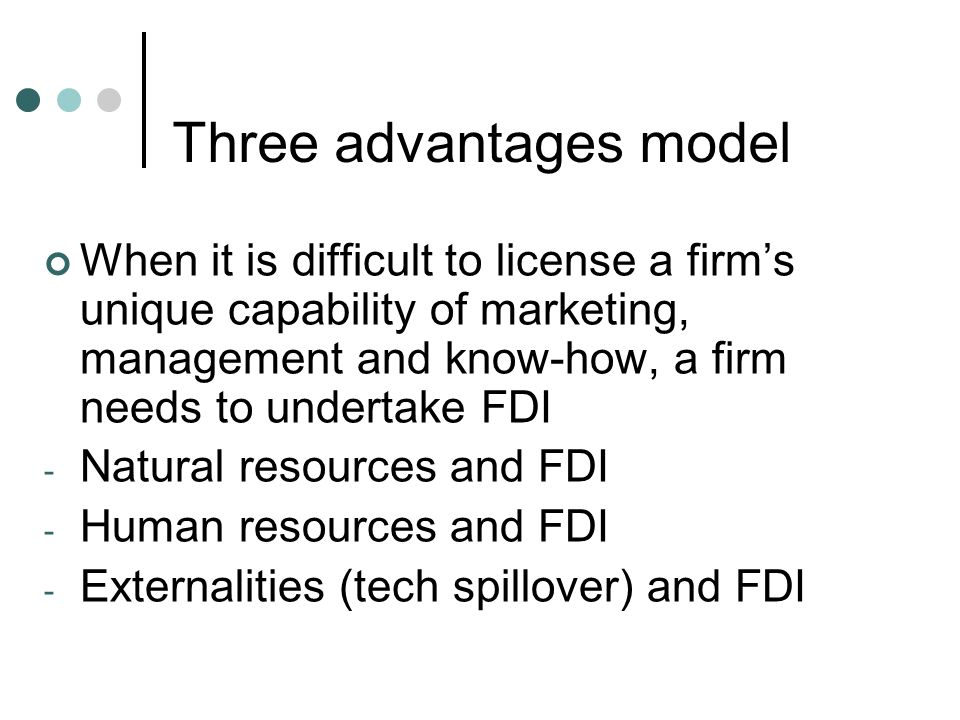 Three advantages model