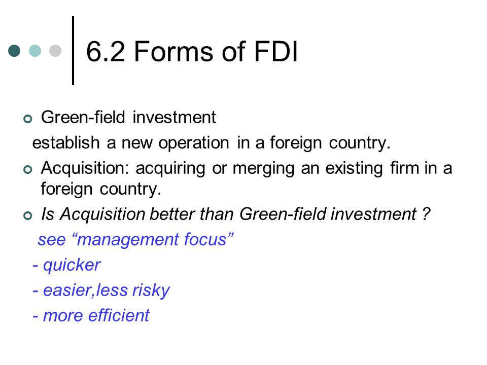6.2 Forms of FDI Green-field investment
