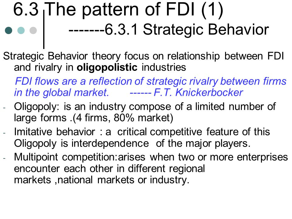 6.3 The pattern of FDI (1) -------6.3.1 Strategic Behavior