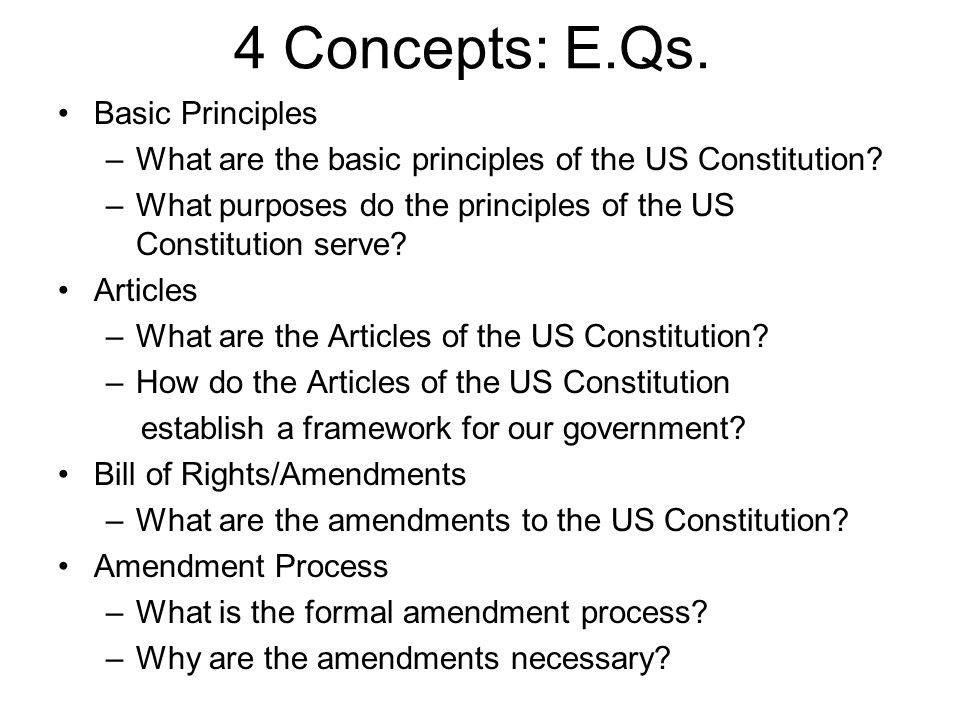 4 Concepts: E.Qs. Basic Principles