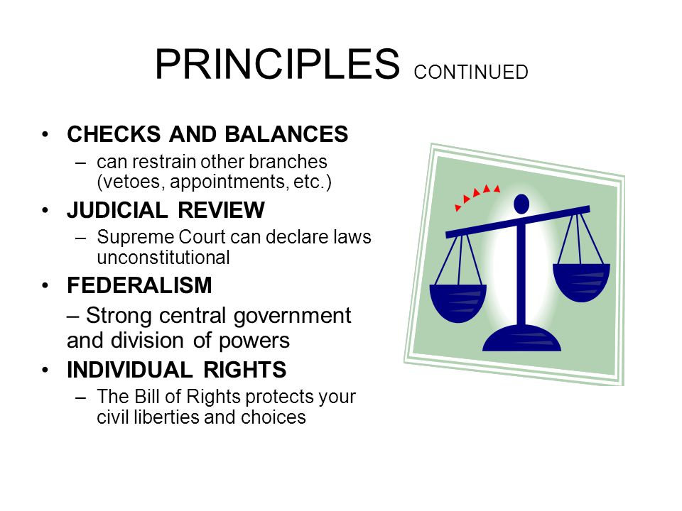 PRINCIPLES CONTINUED CHECKS AND BALANCES JUDICIAL REVIEW FEDERALISM