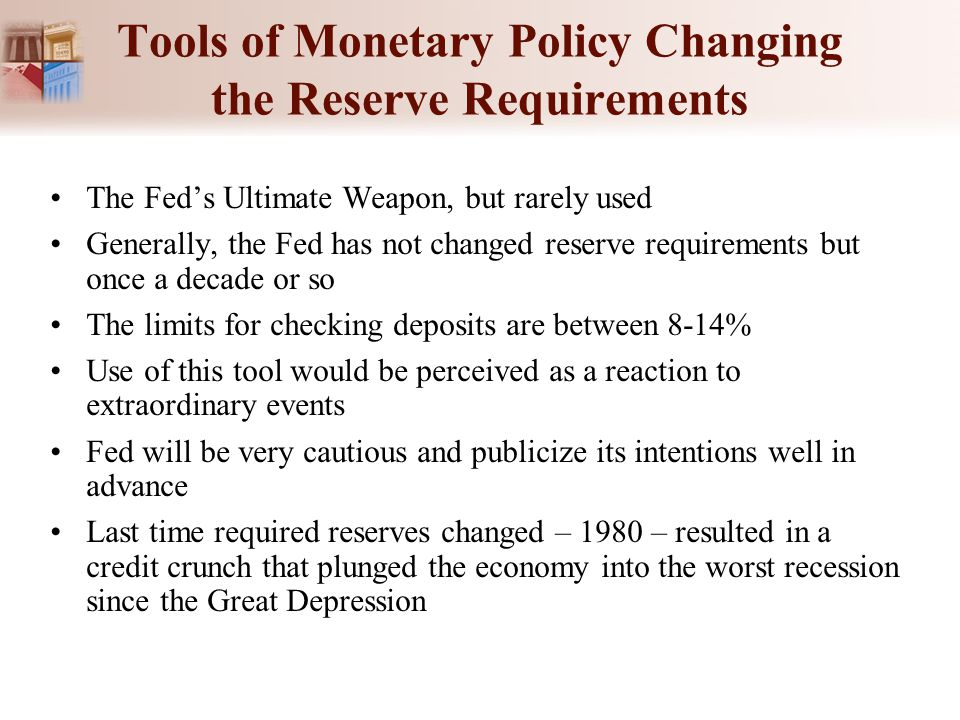 Tools of Monetary Policy Changing the Reserve Requirements