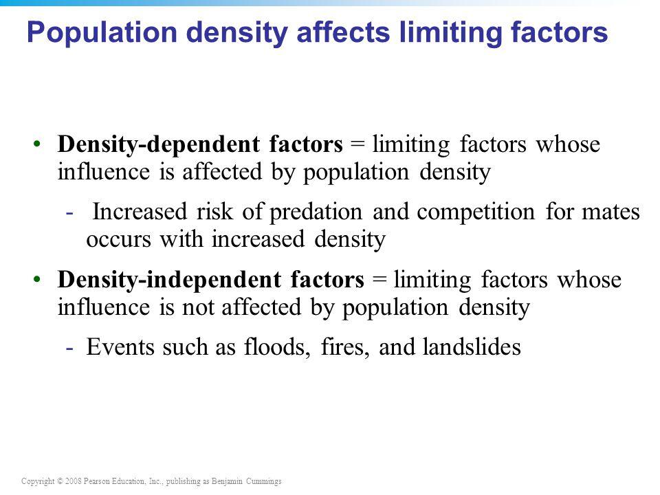 Population density affects limiting factors