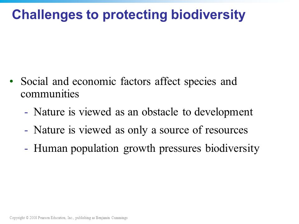 Challenges to protecting biodiversity