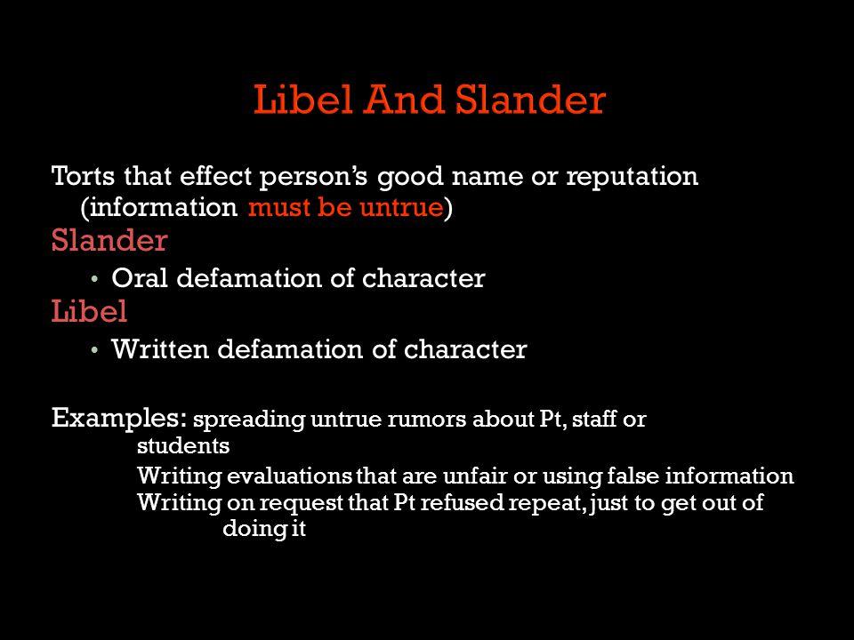 Libel And Slander Slander Libel