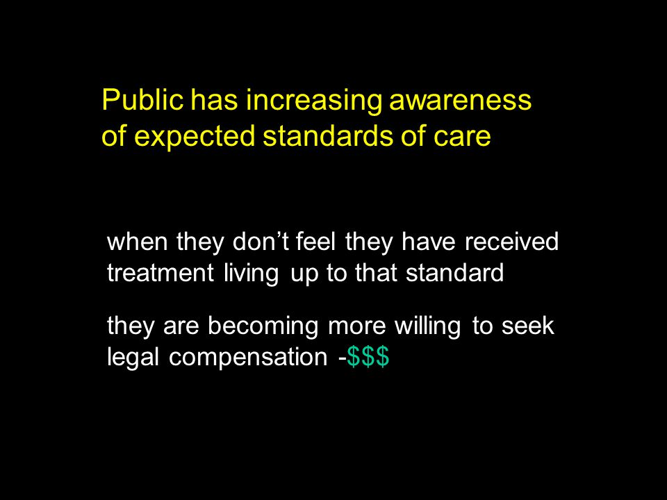 Public has increasing awareness of expected standards of care