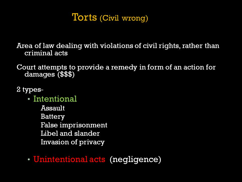 Torts (Civil wrong) Intentional Unintentional acts (negligence)