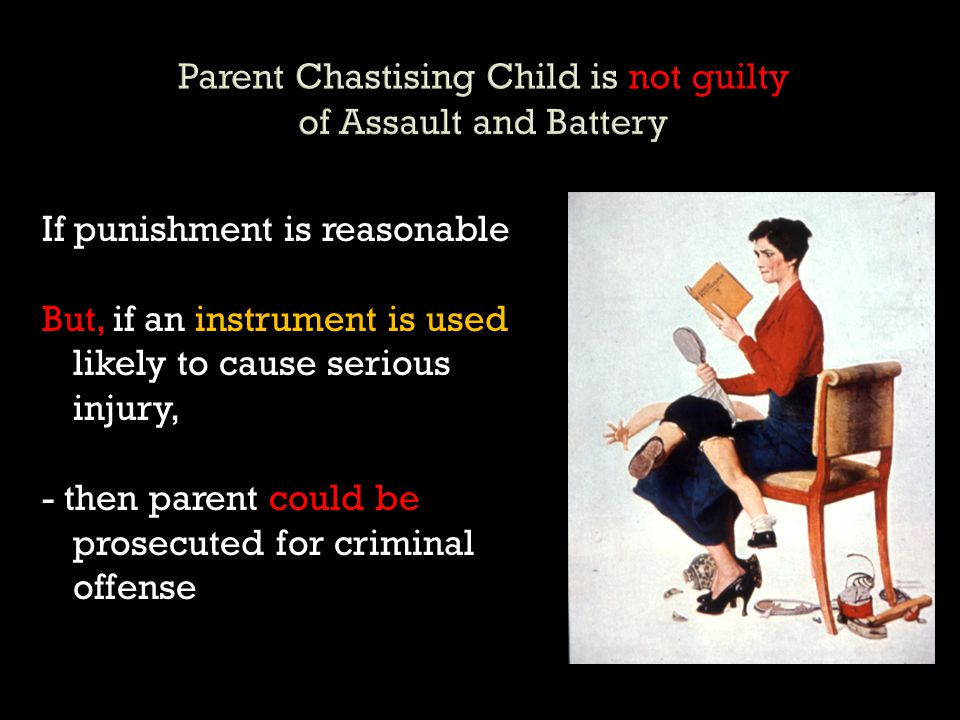 Parent Chastising Child is not guilty of Assault and Battery