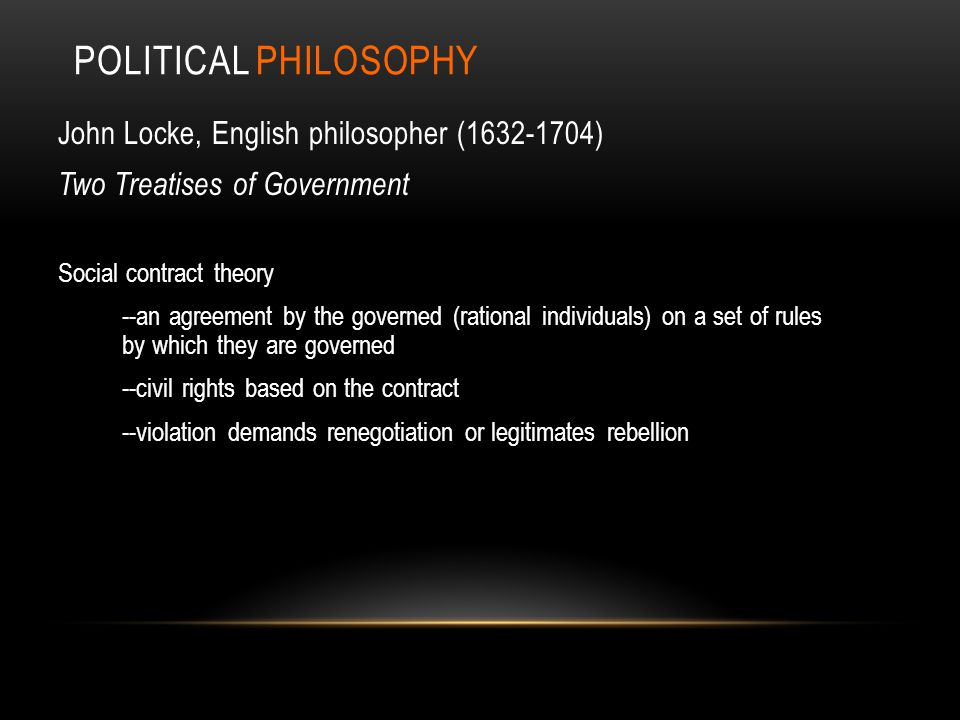 Political PHILOSOPHY John Locke, English philosopher (1632-1704)