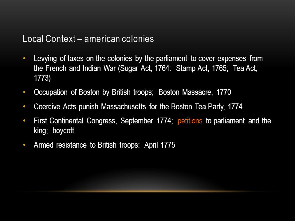Local Context – american colonies