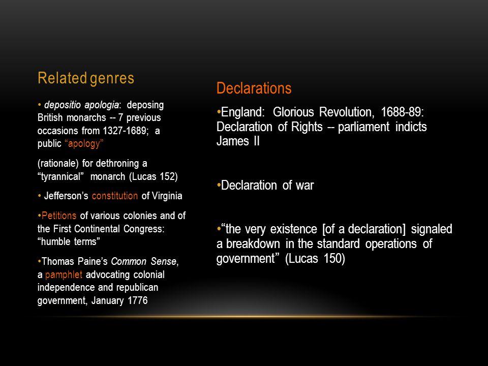 Related genres Declarations