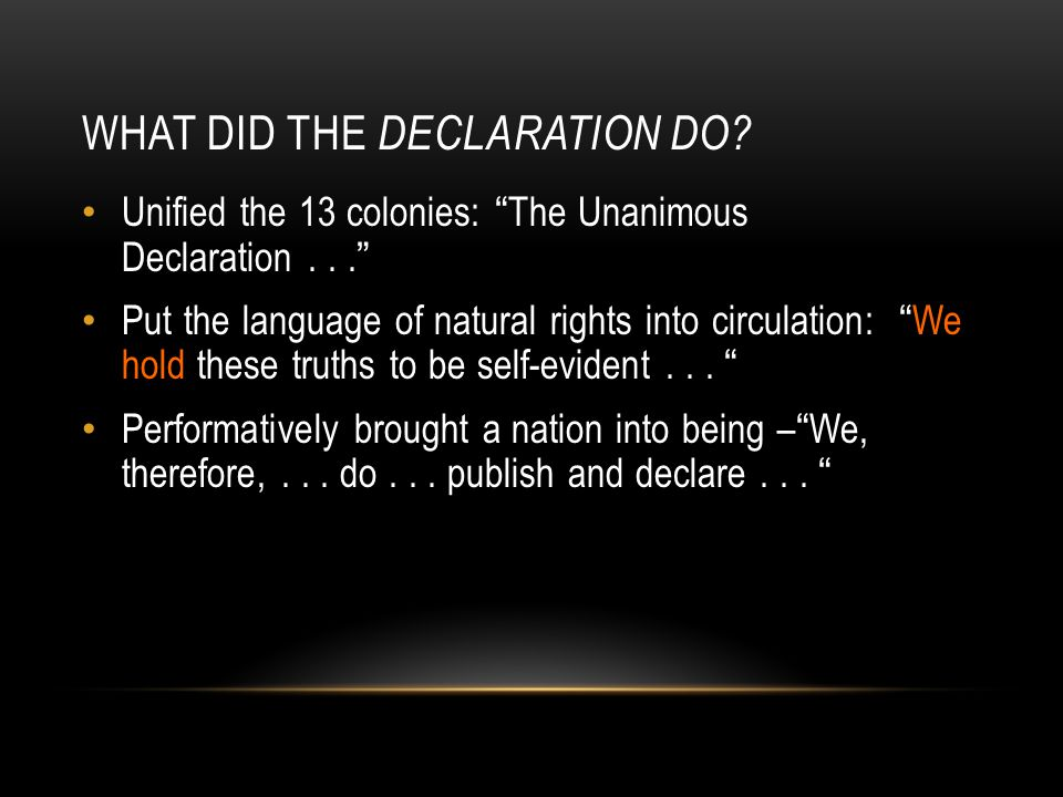 What did the Declaration do