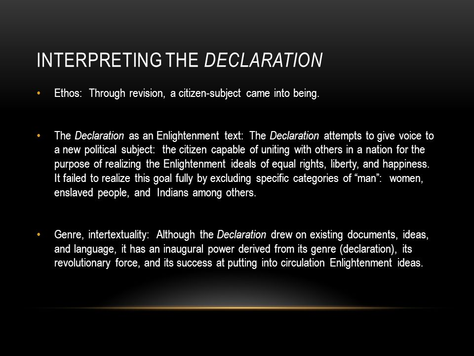 Interpreting the Declaration