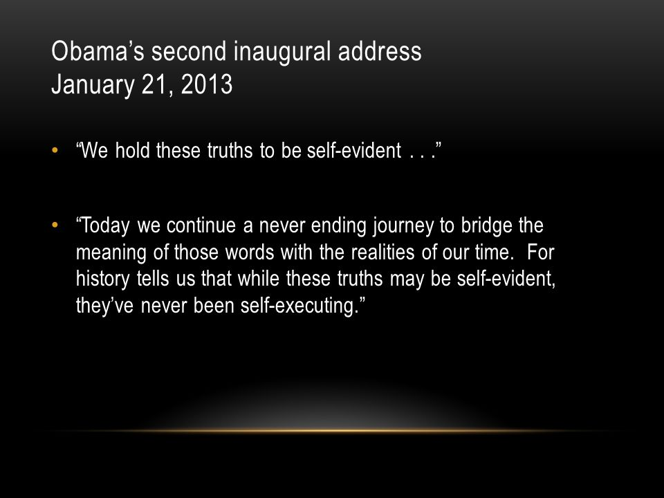 Obama's second inaugural address January 21, 2013