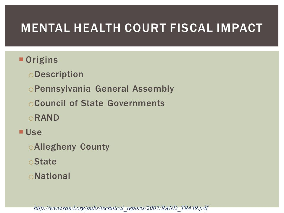 Mental Health Court Fiscal Impact