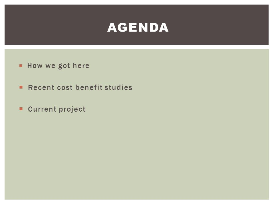AGENDA Recent cost benefit studies Current project How we got here