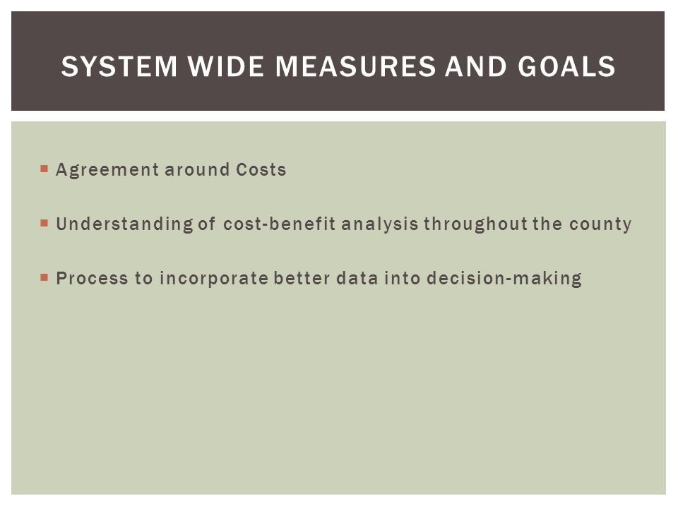 system wide measures and goals