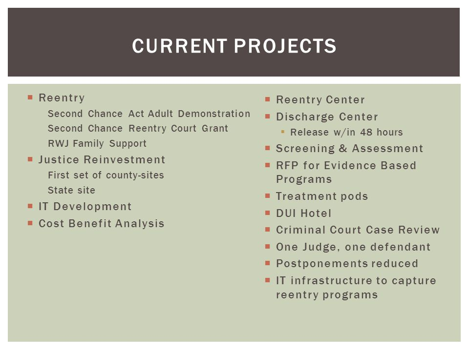 Current projects Reentry Reentry Center Discharge Center