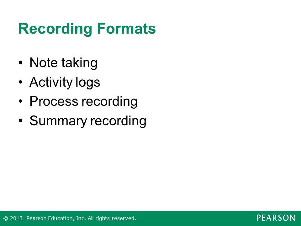 Recording Formats Note taking Activity logs Process recording