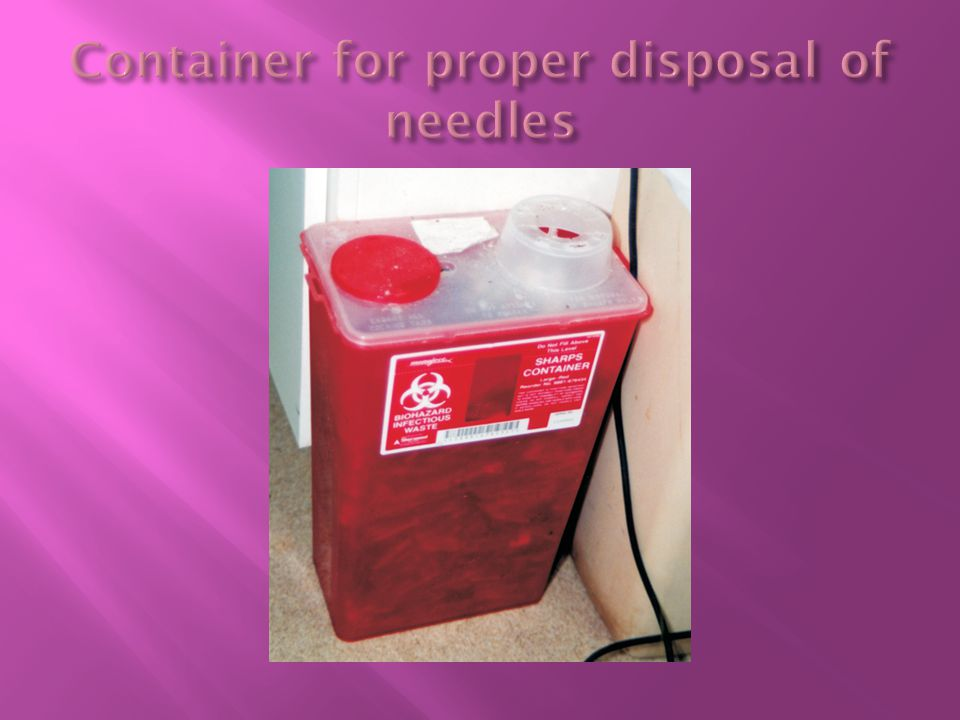 Container for proper disposal of needles