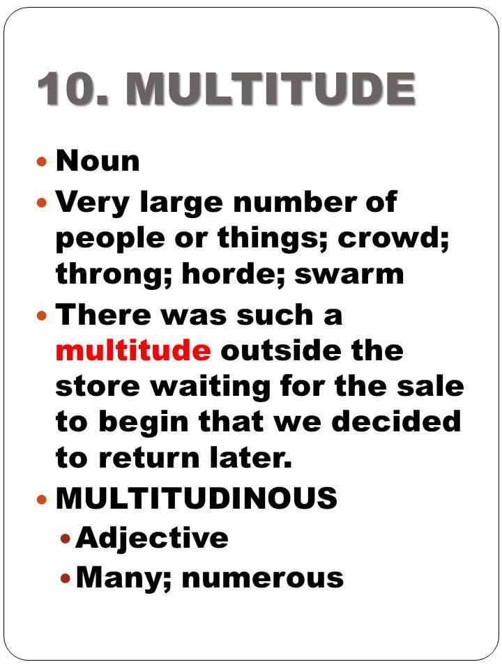 10. MULTITUDE Noun. Very large number of people or things; crowd; throng; horde; swarm.