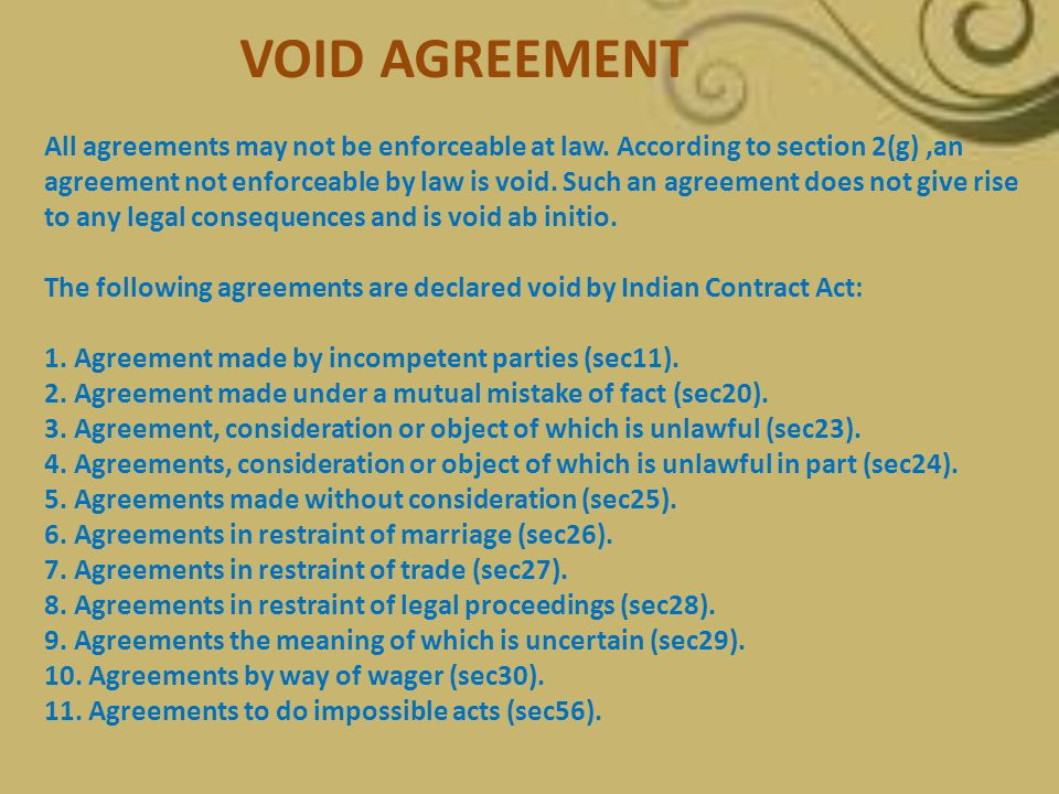 The following agreements are declared void by Indian Contract Act: