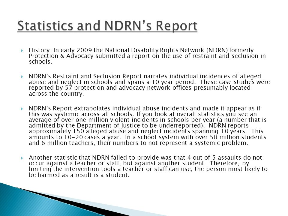Statistics and NDRN's Report
