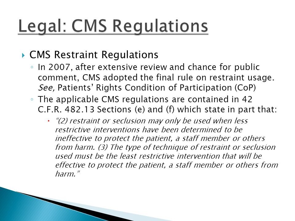 Legal: CMS Regulations