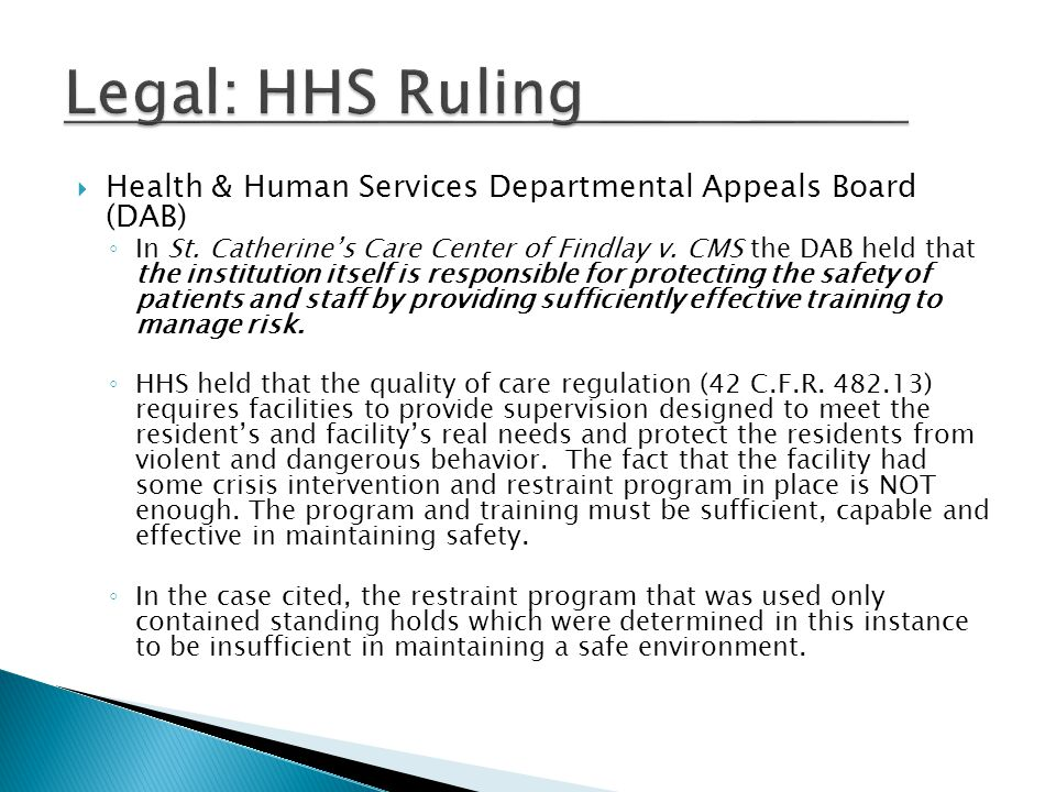 Legal: HHS Ruling Health & Human Services Departmental Appeals Board (DAB)