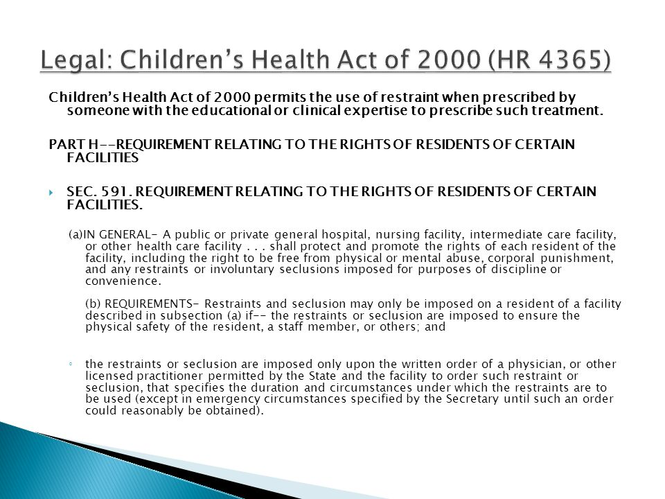 Legal: Children's Health Act of 2000 (HR 4365)