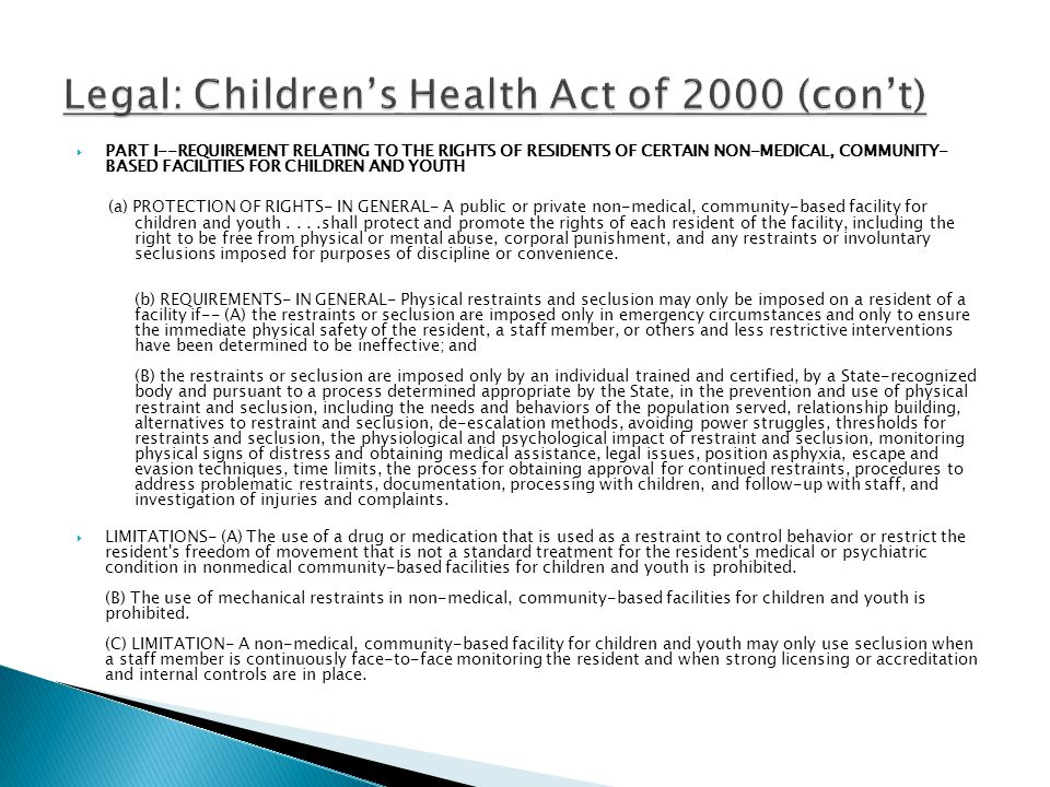 Legal: Children's Health Act of 2000 (con't)