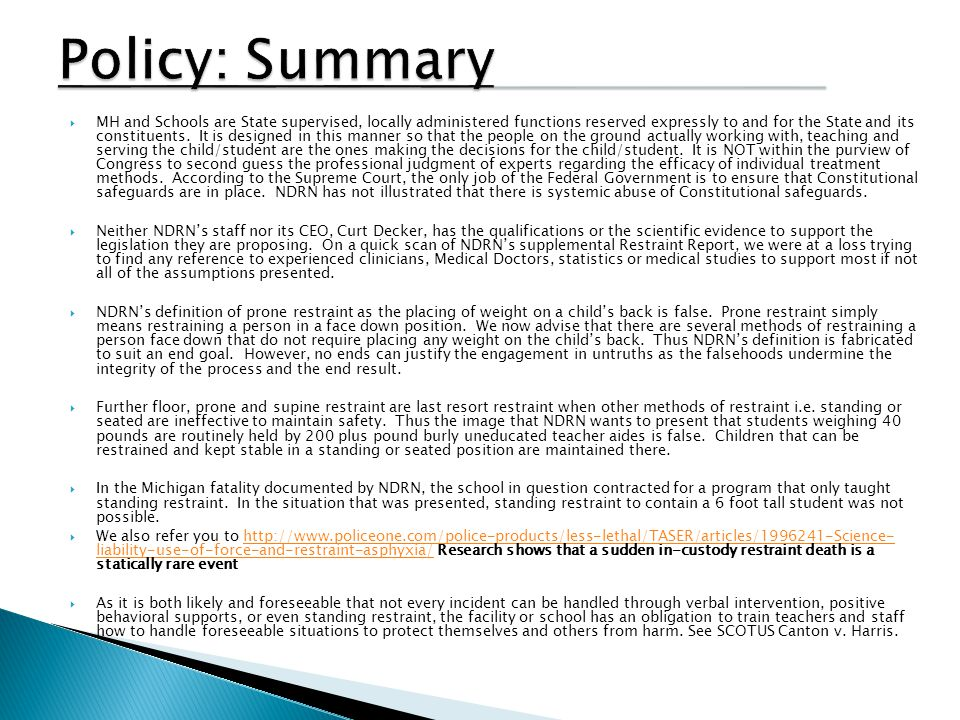 Policy: Summary