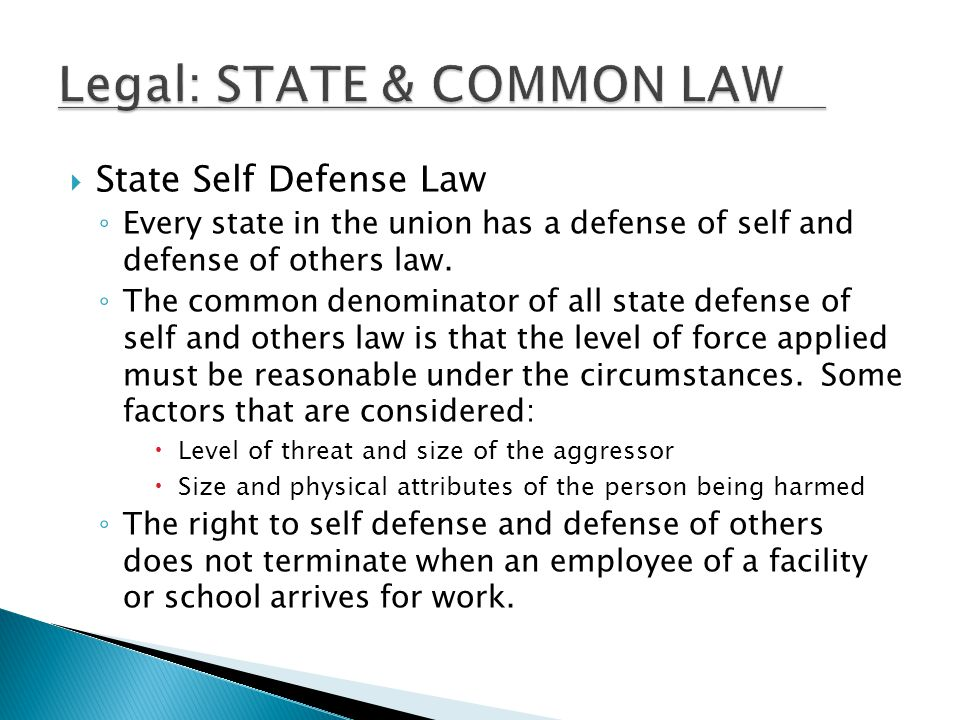 Legal: STATE & COMMON LAW