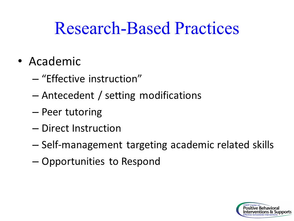 Research-Based Practices