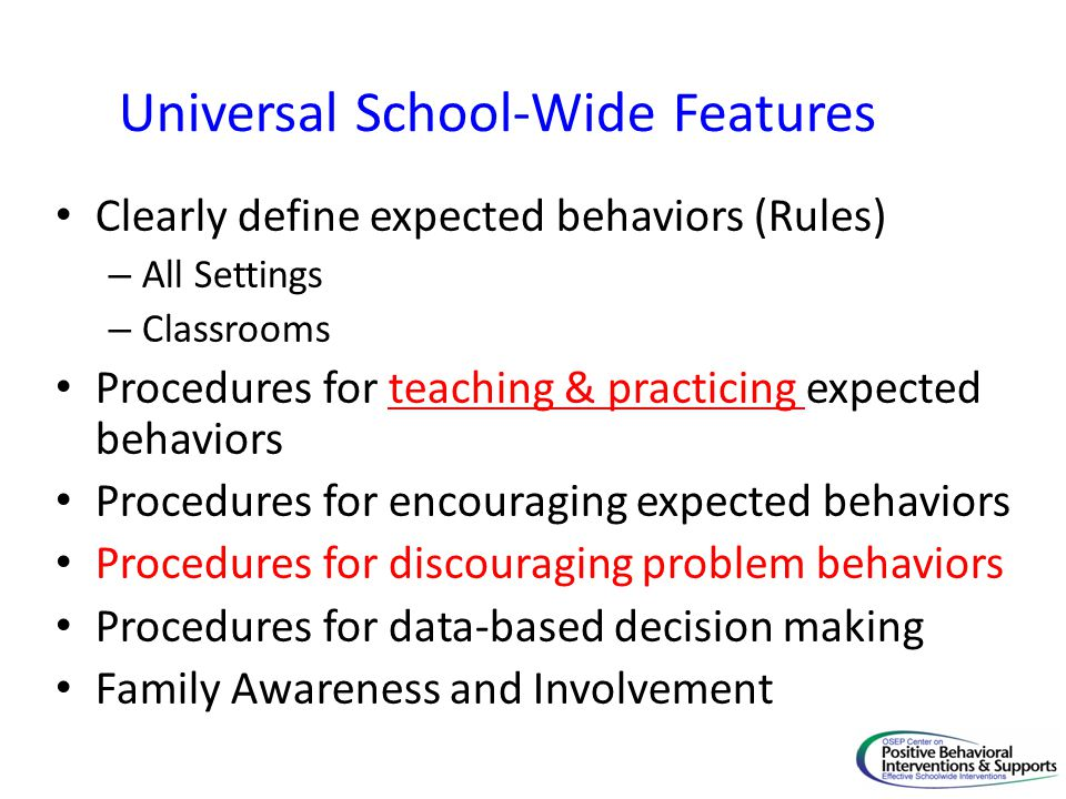 Universal School-Wide Features