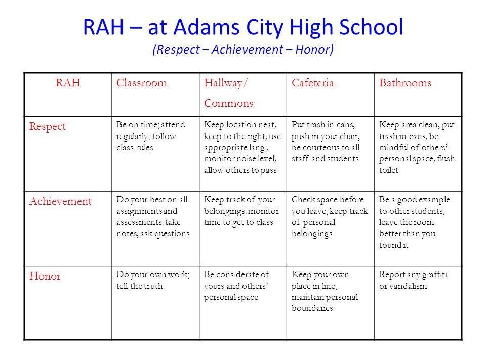 RAH – at Adams City High School (Respect – Achievement – Honor)